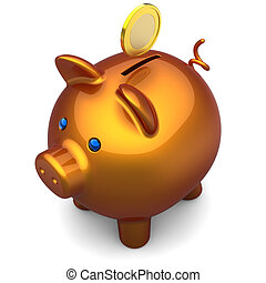 Shiny orange Piggy bank with a gold coin over it. The top-side view. 3D render. Isolated on white.