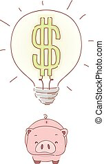 Piggy Bank Savings Ideas Illustration