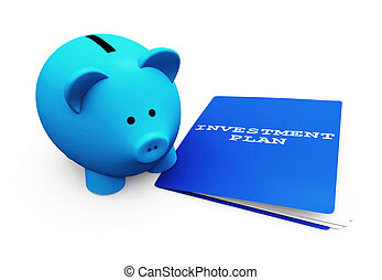 Savings concept with a funny blue piggy bank or money-box advising an investment plan.