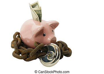 Piggy bank secured with lock