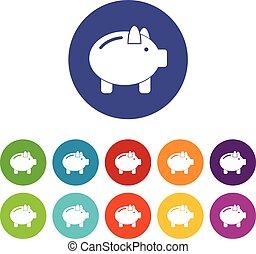 Piggy bank set icons