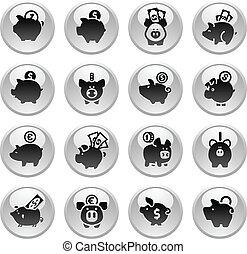 Piggy Bank, set icons on round gray button