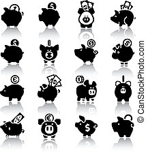 Piggy bank set16, with reflection - Piggy bank set, isolated...