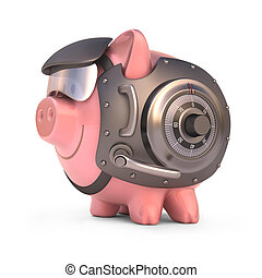 Piggy Bank Shield - Piggy bank secured with steel door and...