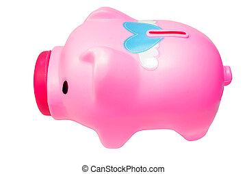 Piggy Bank side pink on isolate white background