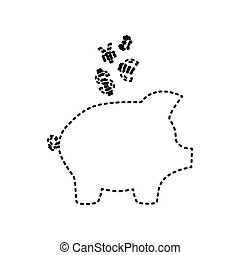 Piggy bank sign with the currencies. Vector. Black dashed icon on white background. Isolated.