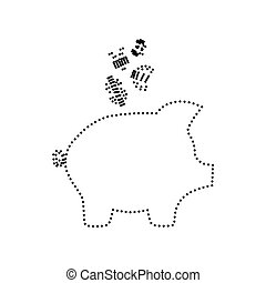Piggy bank sign with the currencies. Vector. Black dotted icon on white background. Isolated.