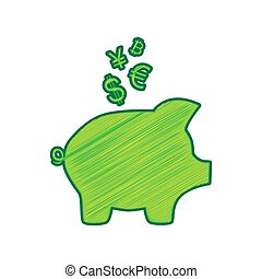 Piggy bank sign with the currencies. Vector. Lemon scribble icon on white background. Isolated