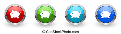 Piggy bank silver metallic glossy icons, red, set of modern design buttons for web, internet and mobile applications in four colors options isolated on white background