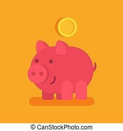 Piggy bank smiling and gold coin. Business concept.