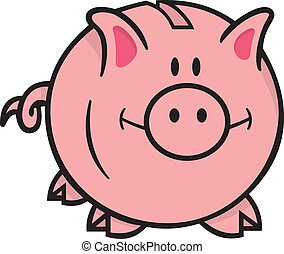 Piggy bank - Smiling pink piggy bank cartoon illustration on...