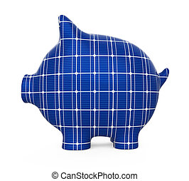 Piggy Bank Solar Panel Isolated
