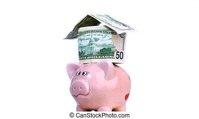 Piggy Bank spinning - Pink Piggy bank Turning around ans...