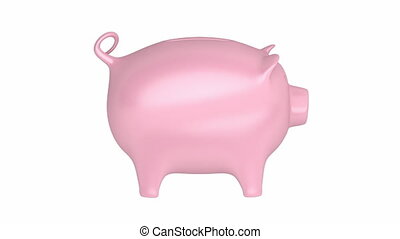Piggy bank spins on white background