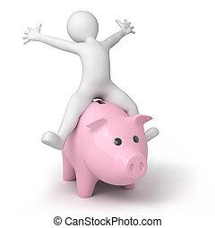 Piggy bank and little 3d human