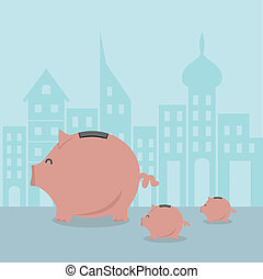Piggy bank , vector illustration.
