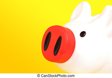 Piggy Bank on a Yellow Background.