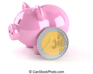 Piggy bank with euro coin isolated on white background