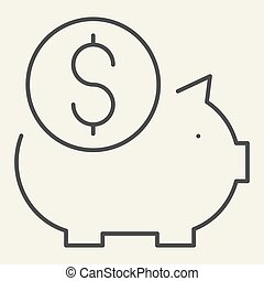 Piggy bank thin line icon. Savings vector illustration isolated on white. Finance outline style design, designed for web and app. Eps 10.