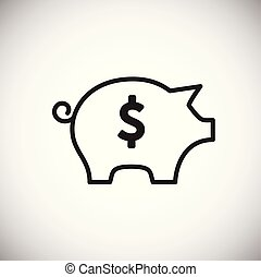 Piggy bank thin line on white background