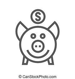 Piggy Bank Thin Line Vector Icon