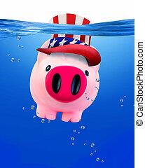 Piggy bank under water.