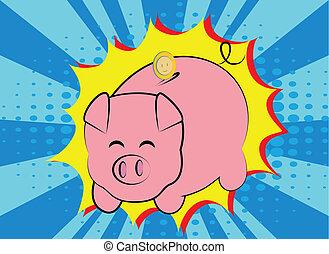Piggy bank  - Funny piggy bank pop art style