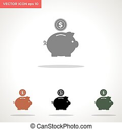 piggy bank vector icon isolated on white background