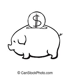 Piggy bank, vector illustration, isolated on white