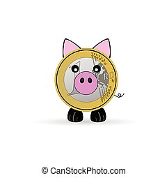 piggy bank vector illustration with one euro
