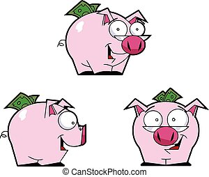 Piggy bank - Vector image of a piggy bank with glasses and...