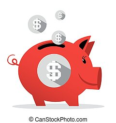 Piggy Bank - Vector Pig Money Bank Illustration