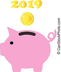 Piggy Bank - vector piggy bank 2019