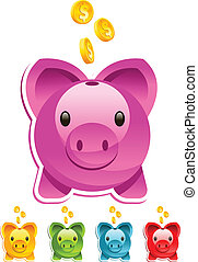 Piggy Bank - Vector piggy bank with gold dollar coins.
