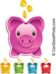 Piggy Bank - Vector piggy bank with gold dollar coins.