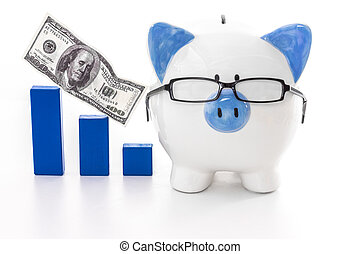 Piggy bank wearing glasses with blue graph model and flying...