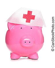piggy bank wearing nurse hat