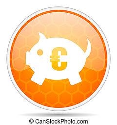 Piggy bank web icon. Round orange glossy internet button for webdesign.
