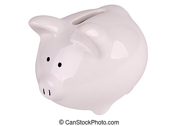 Piggy bank - White piggy bank isolated over white with a...