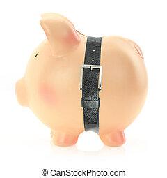 Piggy bank with a belt. Economic crisis concept