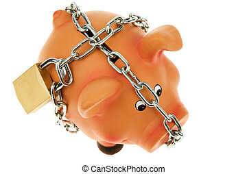 Piggy bank with a chain and lock secured
