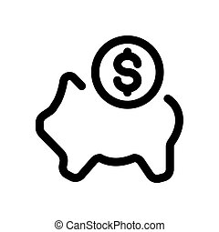 Piggy bank with a coin outline icon isolated on white background