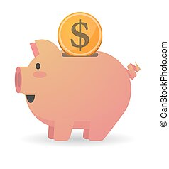 Piggy bank with a currency sign