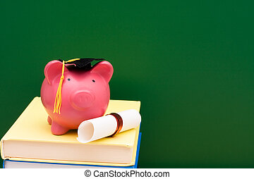 Piggy bank with a grad cap and diploma on a stack of books, Education scholarship