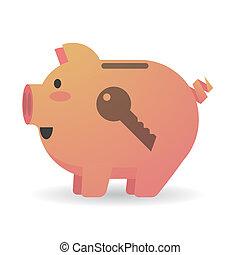 Piggy bank with a key