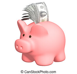 Piggy bank with a pack of dollar banknotes