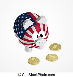 piggy bank with american flag and dollar coins over bright...