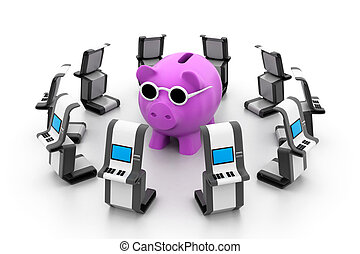 Piggy bank with ATM