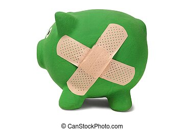 Piggy bank with band-aid