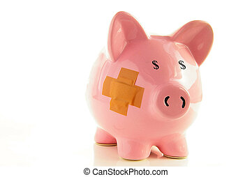 Piggy bank with bandage, metaphor for healthcare costs